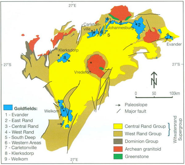 Image result for map of witwatersrand gold fields